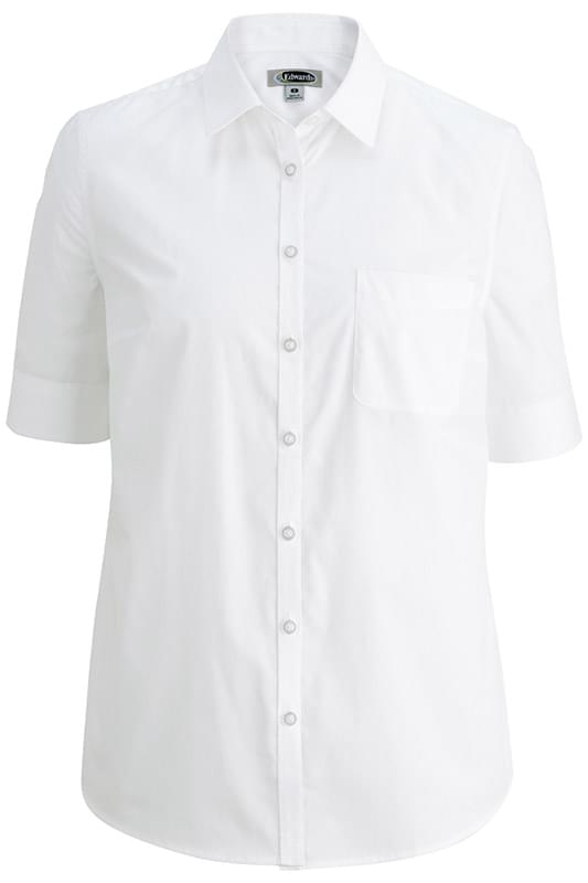 EDWARDS LADIES' S/S STRETCH POPLIN BLOUSE