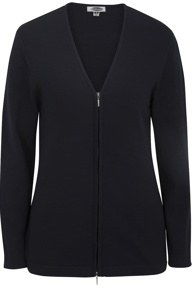 Ladies' Full Zip V-Neck Cardigan Sweater