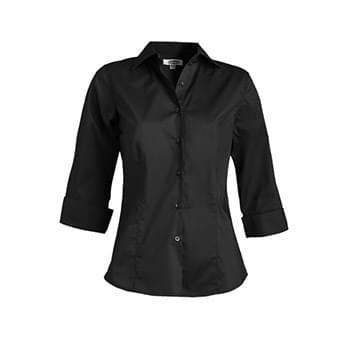 Ladies' Tailored Full-Placket Stretch Blouse-3/4 Sleeve