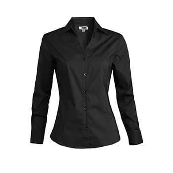 LADIES' TAILORED V-NECK STRETCH BLOUSE-LONG SLEEVE