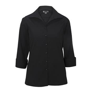 LADIES' LIGHTWEIGHT OPEN NECK POPLIN BLOUSE - 3/4 SLEEVE