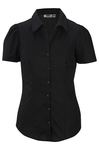 Ladies' Tailored Open Neck Stretch Blouse-Short Sleeve