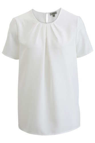 Ladies Jewel Neck Short Sleeve Blouse