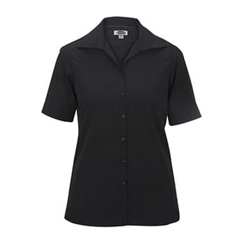 LADIES' LIGHTWEIGHT SHORT SLEEVE POPLIN BLOUSE