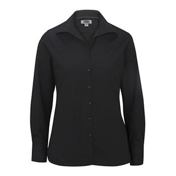 Ladies' Lightweight Open Neck Poplin Blouse-Long Sleeve