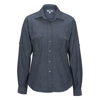 LADIES' CHAMBRAY ROLL UP SLEEVE SHIRT