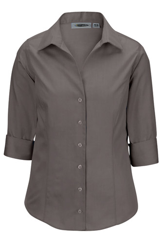 LADIES' OXFORD WRINKLE-FREE DRESS BLOUSE - 3/4 SLEEVE