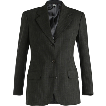 LADIES' PINSTRIPE WOOL BLEND SUIT COAT