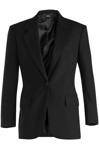 Women's Single Breasted Wool Blend Suit Coat