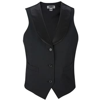 Women's Black Satin Shawl Vest