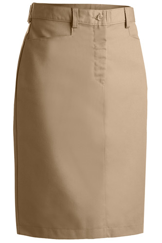 LADIES' BLENDED CHINO SKIRT-MEDIUM LENGTH