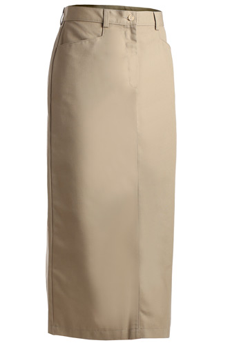 LADIES' BLENDED CHINO SKIRT-LONG LENGTH